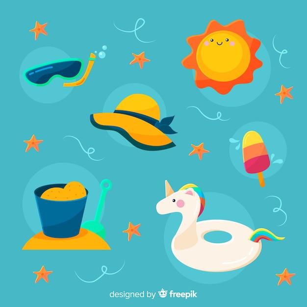 Collection d'éléments d'été de style kawaii Vecteur gratuit