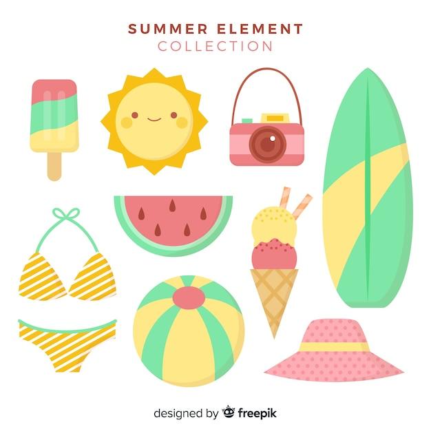 Collection d'éléments d'été Vecteur gratuit