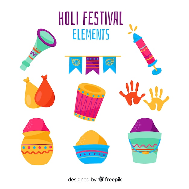 Collection d'éléments de festival holi dessinés à la main Vecteur gratuit