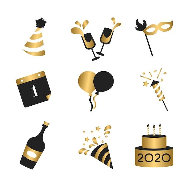 Collection d'éléments de fête design plat nouvel an Vecteur gratuit