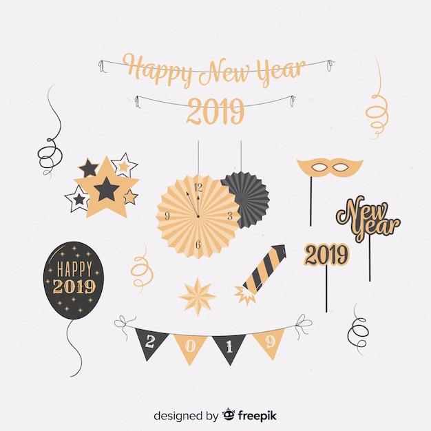 Collection d'éléments de fête du nouvel an Vecteur gratuit