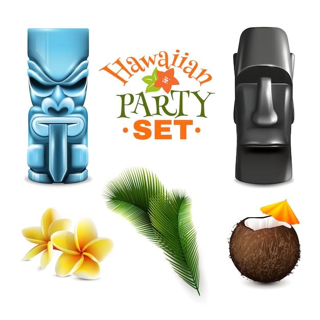 Collection D'éléments De Fête Hawaïenne Vecteur gratuit
