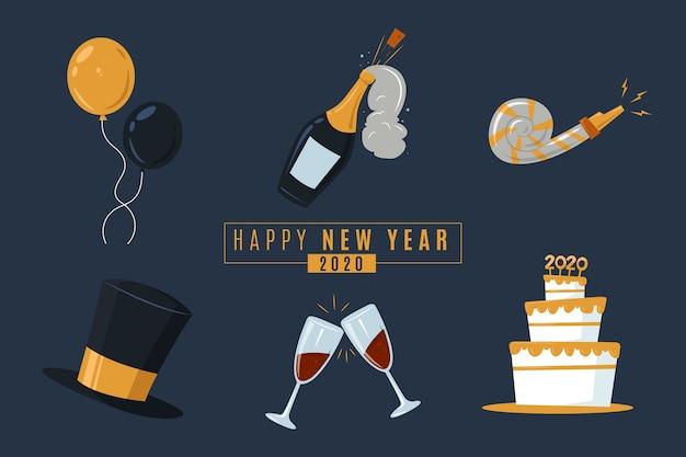 Collection d'éléments de fête nouvel an à plat sur fond sombre Vecteur gratuit