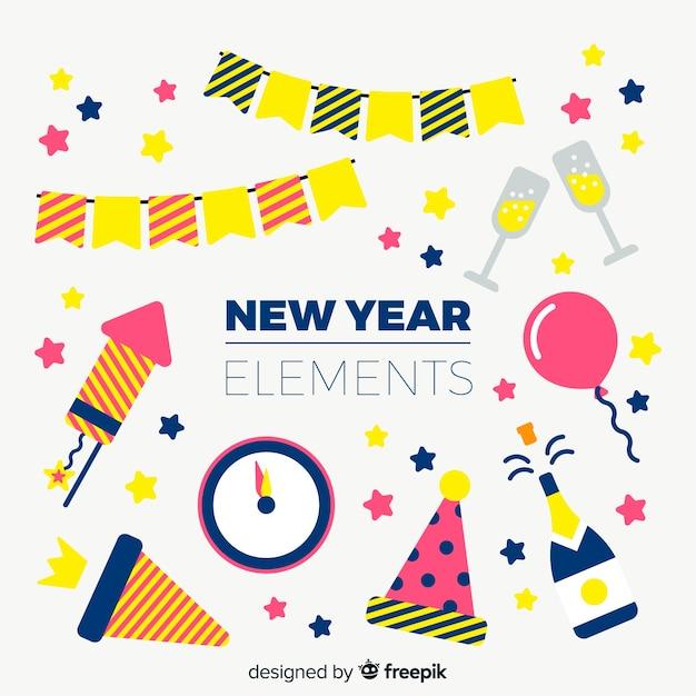 Collection d'éléments de fête pour le nouvel an Vecteur gratuit