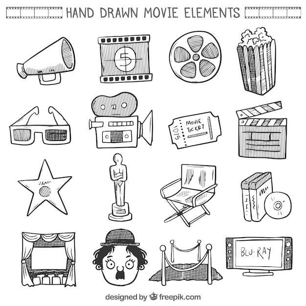 Collection d'éléments de film sketches Vecteur gratuit