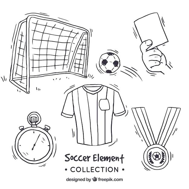 Collection D'éléments De Football Dans Un Style Dessiné à La Main Vecteur gratuit