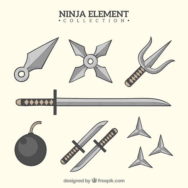 Collection d'éléments de guerrier ninja dessinés à la main Vecteur gratuit