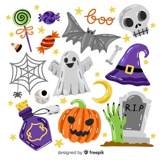 Collection d'éléments halloween avec des accessoires fantasmagoriques Vecteur gratuit