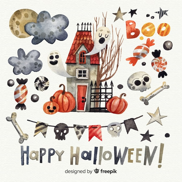 Collection d'éléments d'halloween à l'aquarelle Vecteur gratuit