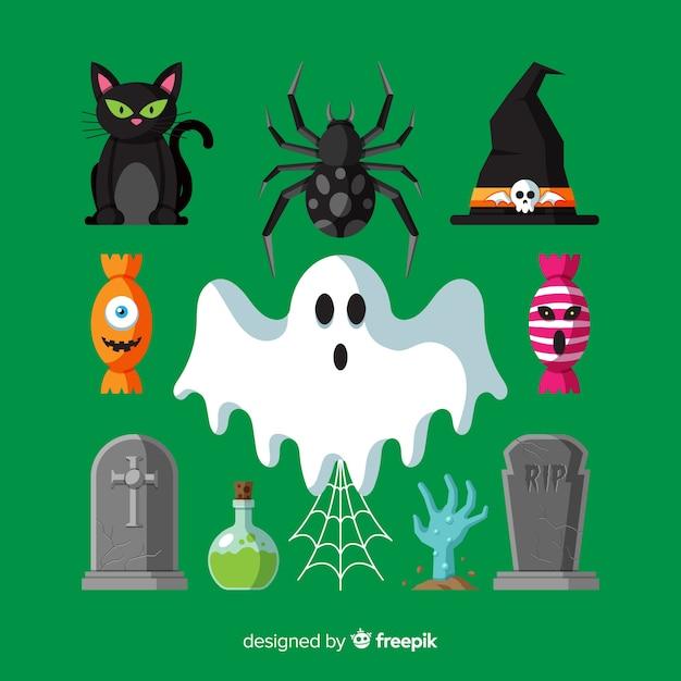 Collection d'éléments d'halloween au design plat Vecteur gratuit