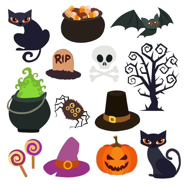 Collection d'éléments de halloween dans un style plat Vecteur Premium