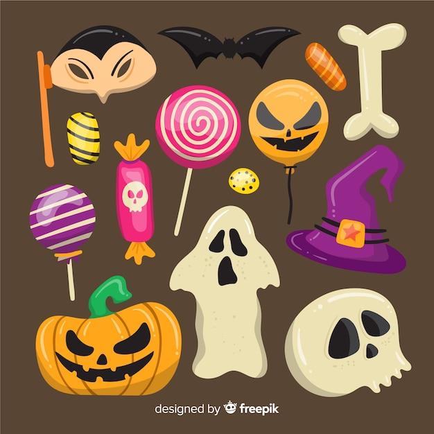 Collection d'éléments halloween sur design plat Vecteur gratuit