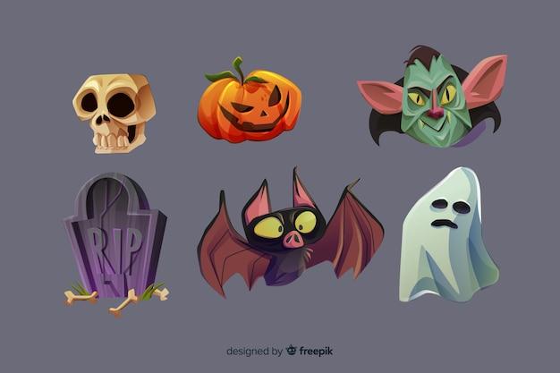 Collection d'éléments d'halloween de dessin animé réaliste Vecteur gratuit