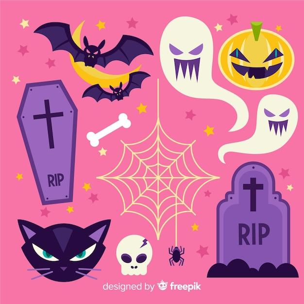 Collection d'éléments d'halloween dessinés à la main classique Vecteur gratuit