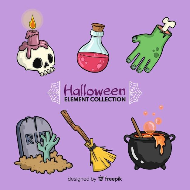 Collection d'éléments de halloween dessinés à la main colorée Vecteur gratuit