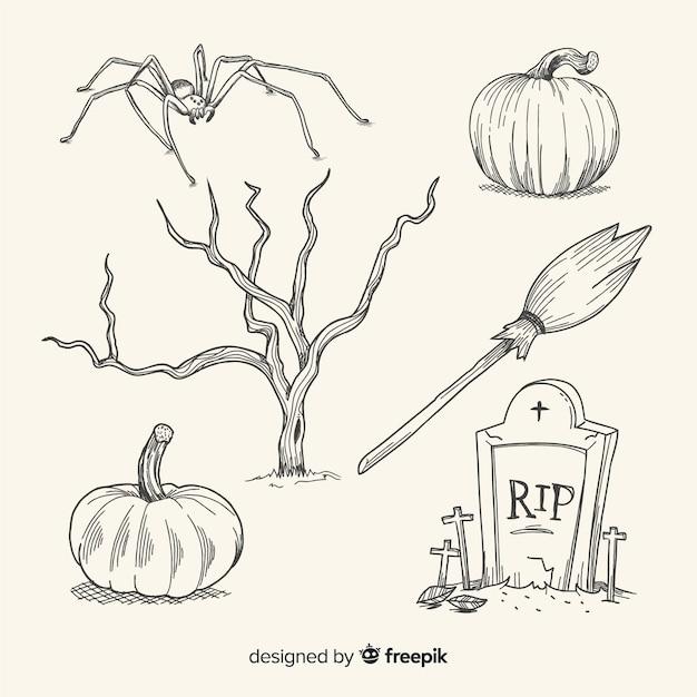 Collection d'éléments halloween dessinés à la main réaliste Vecteur gratuit