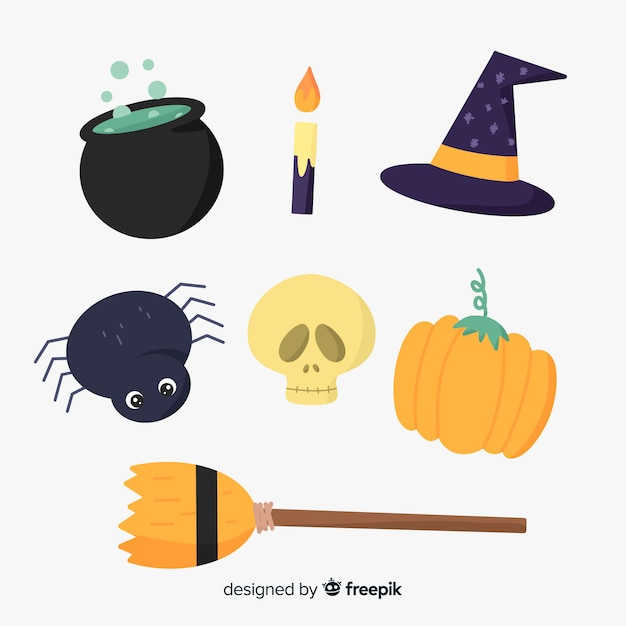 Collection d'éléments d'halloween dessinés à la main Vecteur gratuit