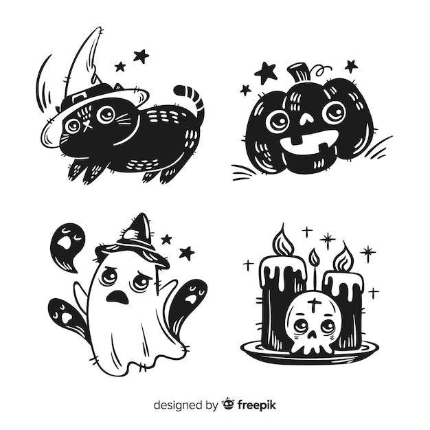 Collection d'éléments de halloween dessinés à la main Vecteur gratuit