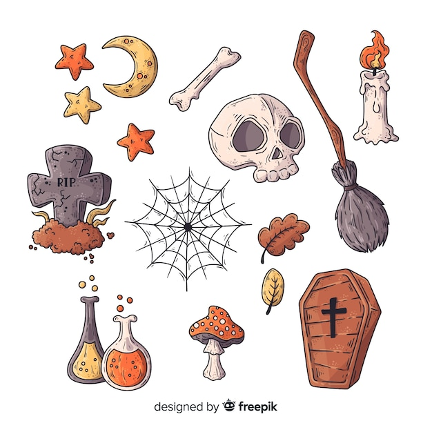 Collection d'éléments d'halloween dessinés à la main Vecteur gratuit