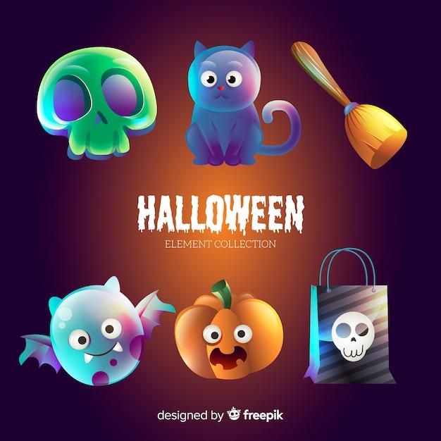 Collection d'éléments halloween drôle Vecteur gratuit