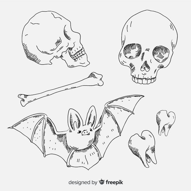 Collection d'éléments d'halloween esquisse réaliste Vecteur gratuit
