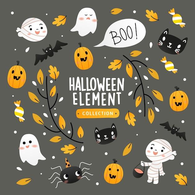 Collection D'éléments D'halloween Vecteur Premium