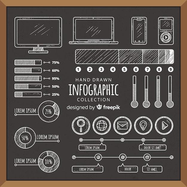 Collection D'éléments D'infographie Blackboard Vecteur gratuit