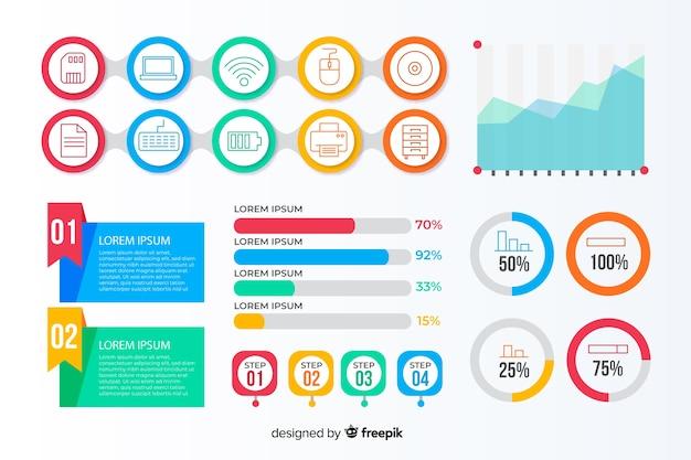 Collection d'éléments d'infographie dans un style plat Vecteur gratuit