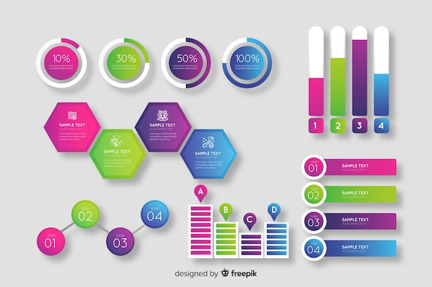 Collection d'éléments d'infographie en dégradé Vecteur gratuit