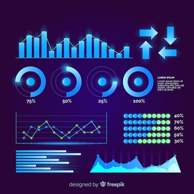 Collection d'éléments d'infographie futuriste plat Vecteur gratuit