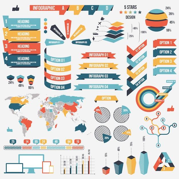 Collection d'éléments d'infographie Vecteur Premium