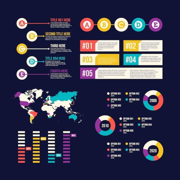 Collection D'éléments Infographiques Et Carte Du Monde Vecteur gratuit