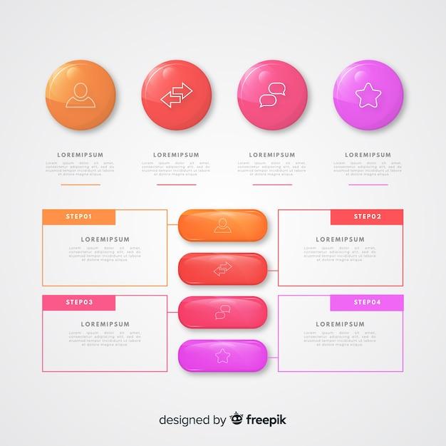Collection d'éléments infographiques en plastique brillant réaliste Vecteur gratuit