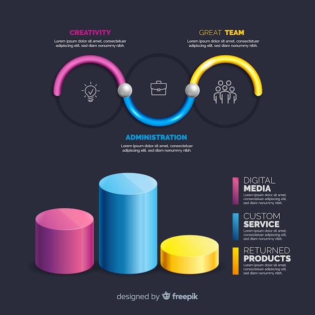 Collection D'éléments Infographiques En Plastique Réalistes Vecteur gratuit