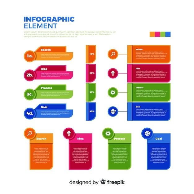 Collection d'éléments infographiques plat coloré Vecteur gratuit