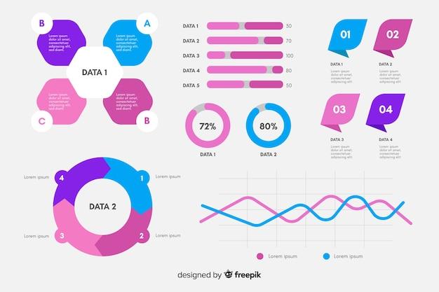 Collection d'éléments infographiques plats Vecteur gratuit