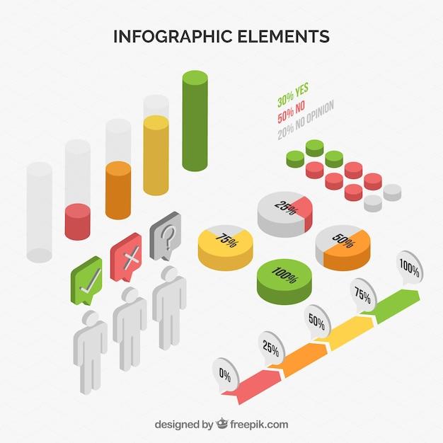 Collection d'éléments infographiques en style isométrique Vecteur gratuit