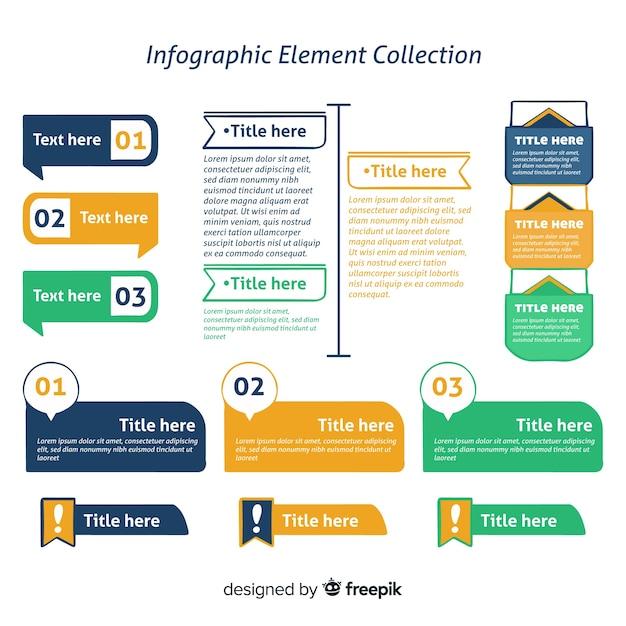 Collection d'éléments infographiques en trois couleurs Vecteur gratuit