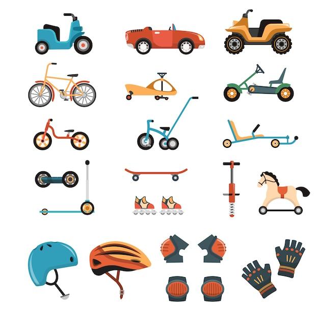 Collection d'éléments de jouets de conduite Vecteur gratuit