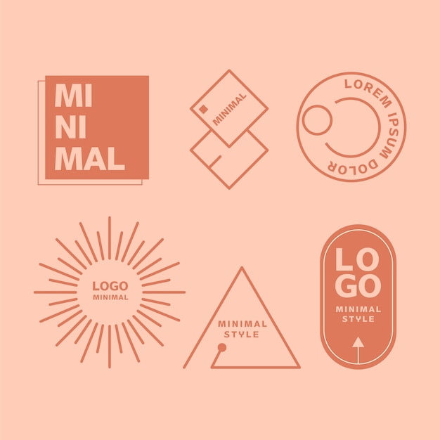 Collection d'éléments de logo minimal en deux couleurs Vecteur gratuit