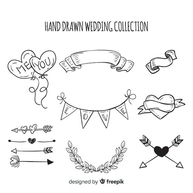 Collection d'éléments de mariage dessinés à la main Vecteur gratuit