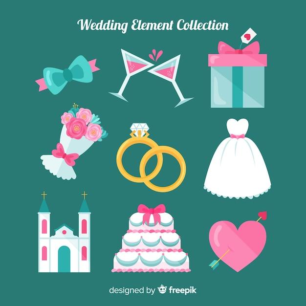 Collection d'éléments de mariage plats Vecteur gratuit