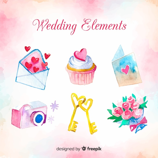 Collection d'éléments de mariage Vecteur gratuit