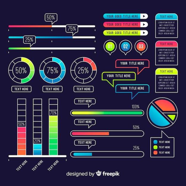 Collection d'éléments modernes d'infographie Vecteur gratuit