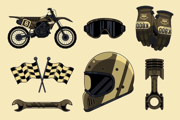 Collection D'éléments De Motocross Rétro Vecteur Premium