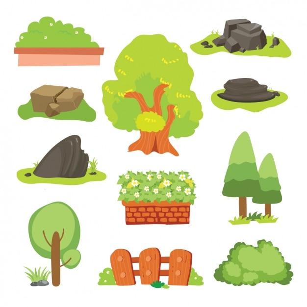 Collection d'éléments de la nature Vecteur gratuit