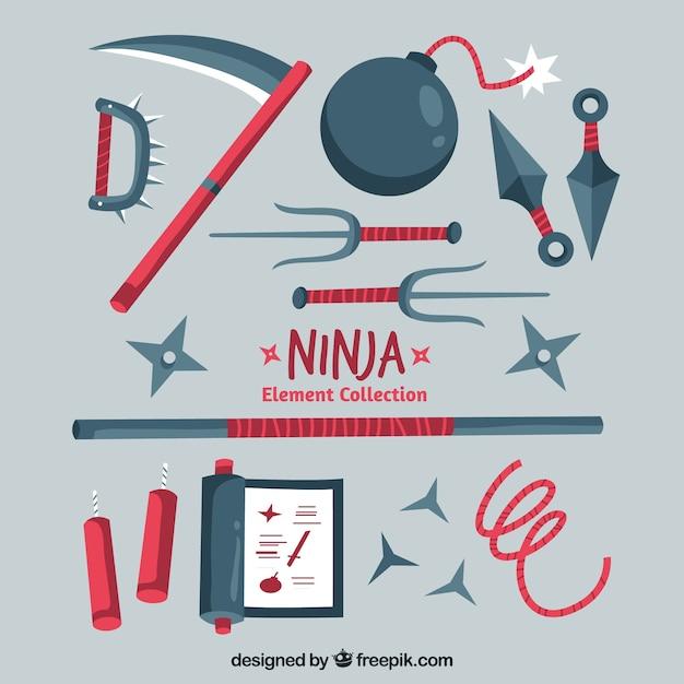 Collection d'éléments ninja au design plat Vecteur gratuit