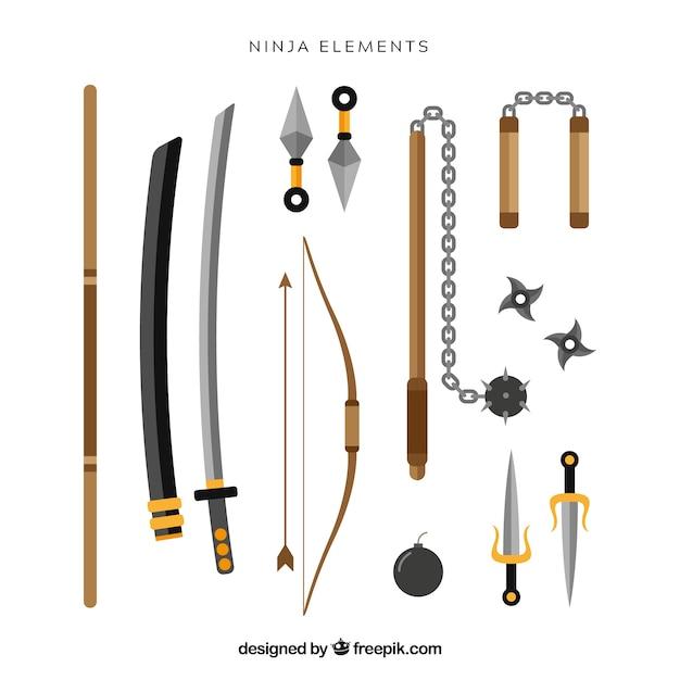 Collection d'éléments ninja avec un design plat Vecteur gratuit