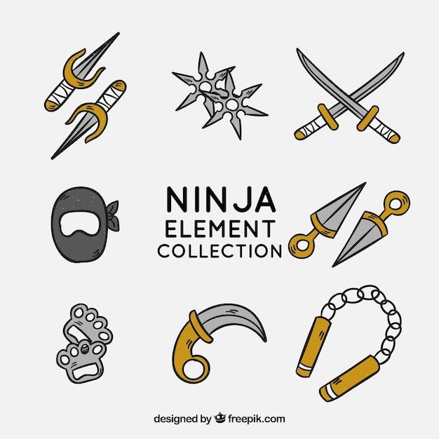 Collection d'éléments ninja dessinés à la main Vecteur gratuit