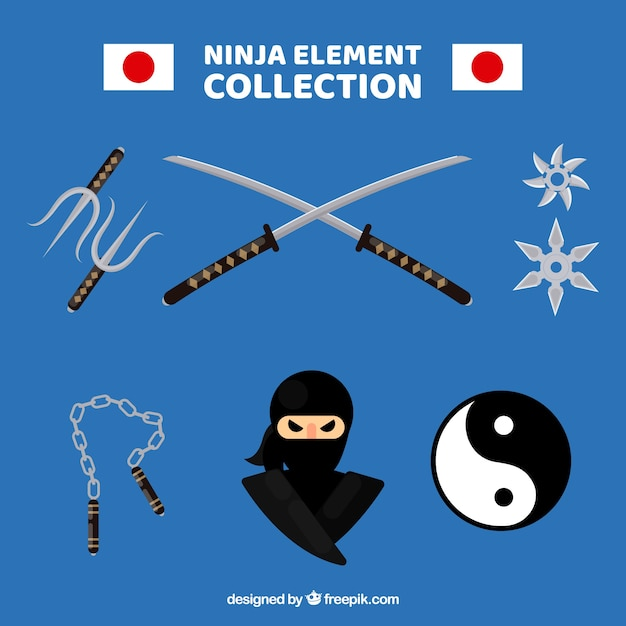 Collection d'éléments ninja traditionnelle avec un design plat Vecteur gratuit